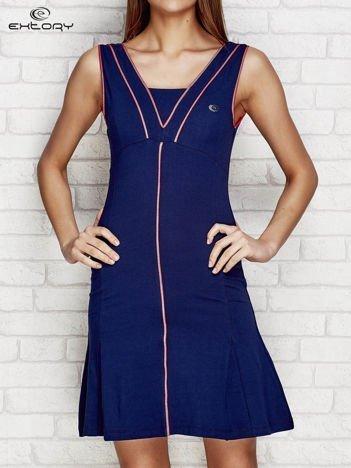 Granatowa sukienka sportowa z siateczkową wstawką
