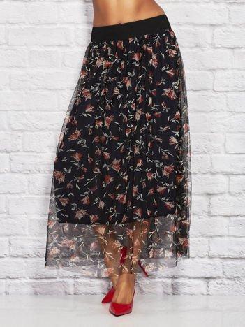 Granatowa tiulowa spódnica z motywem kwiatowym