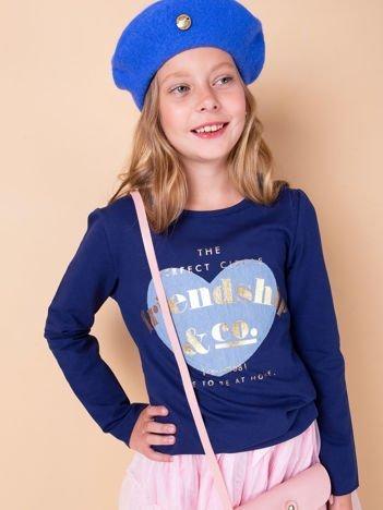 Granatowa tunika dziewczęca z naszywką