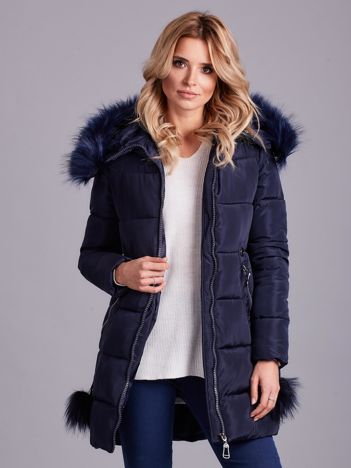 Granatowa zimowa kurtka damska z futerkiem