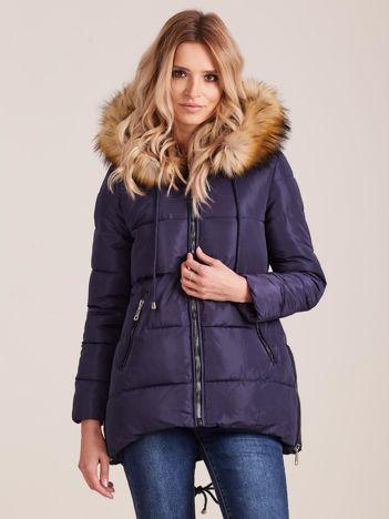 Granatowa zimowa kurtka z futerkiem