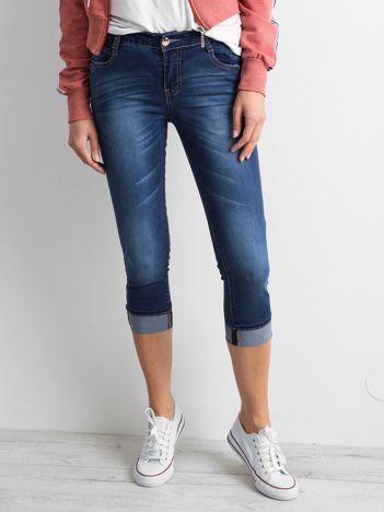 Granatowe jeansy 7/8