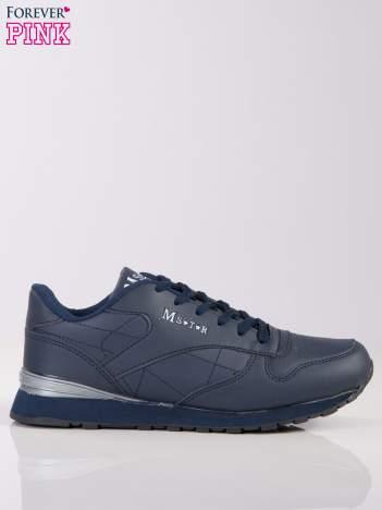 Granatowe lekkie buty sportowe na piankowej podeszwie z napisem z boku