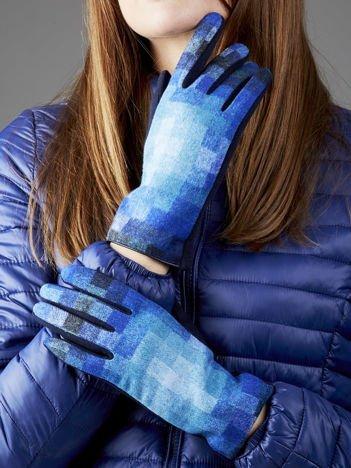 Granatowe rękawiczki z kolorowym motywem kraty