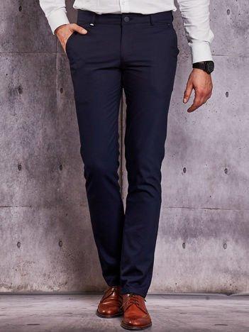 Granatowe spodnie męskie w drobny prążek
