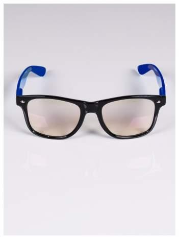 Granatowo-czarne okulary zerówki kujonki typu WAYFARER NERDY