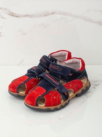 Granatowo-czerwone sandały dziecięce
