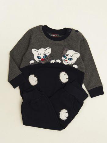 Granatowo-szary komplet dresowy dla niemowlaka