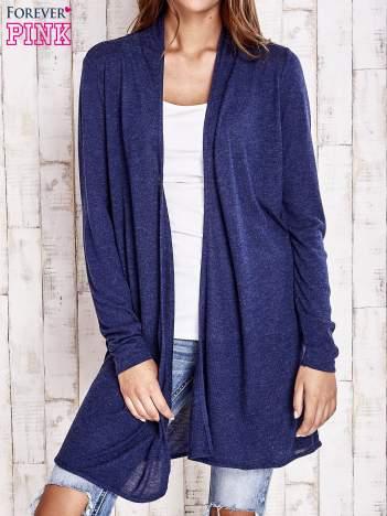 Granatowy długi sweter