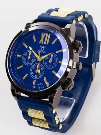 Granatowy męski zegarek