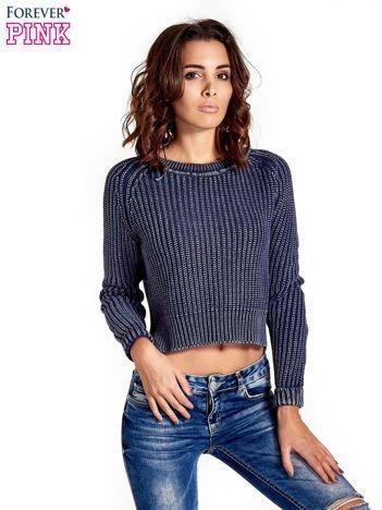 Granatowy sweter cropped z rozporkami