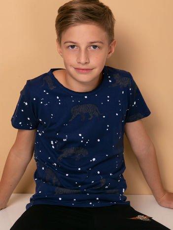 Granatowy t-shirt dziecięcy w tygrysy