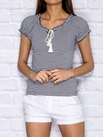 Granatowy t-shirt w paski z troczkami