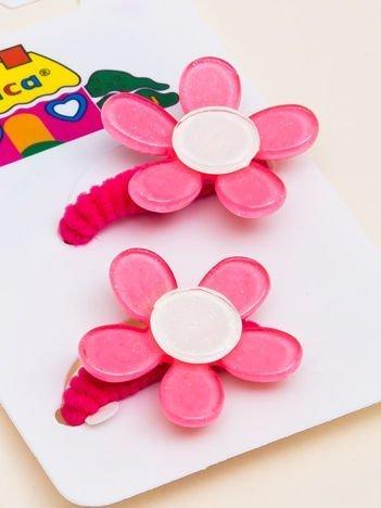 INCA Gumki do włosów różowe z kolorowymi kwiatami z brokatem komplet 2 szt.