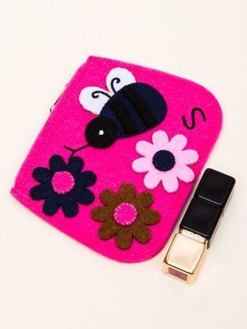 INCA Mały portfel z dzianiny ze wzorem kwiatowym różowy