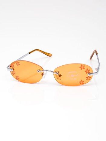 INCA Okulary dziecięce pomarańczowe z kwiatuszkami