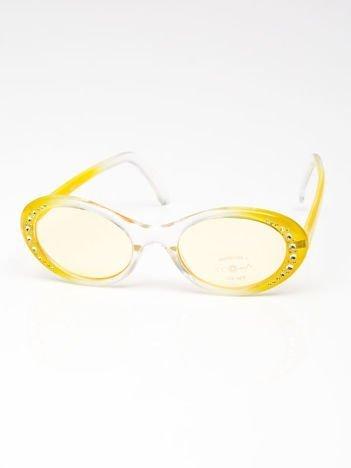 INCA Okulary dziecięce żółte z cyrkoniami