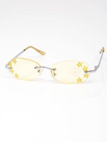 INCA Okulary dziecięce żółte z kwiatuszkami