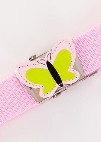 INCA Pasek dziecięcy różowy z motylkiem