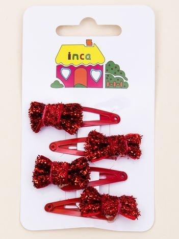 INCA Spinki do włosów pyki czerwone kokardki glitter komplet 4 szt.