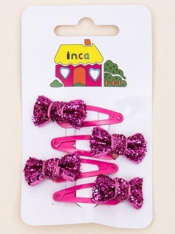 INCA Spinki do włosów pyki różowe kokardki glitter komplet 4 szt.