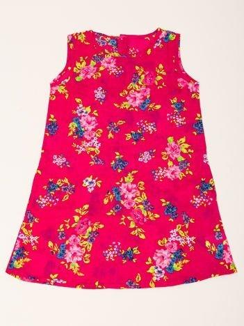 INCA Sukienka dziewczęca czerwona  w Kwiatki
