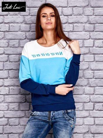 JUST LOU Ecru modułowa bluza z napisem