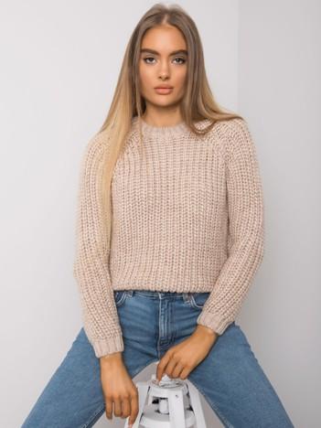 Jasnobeżowy sweter damski z dzianiny Grinnell RUE PARIS