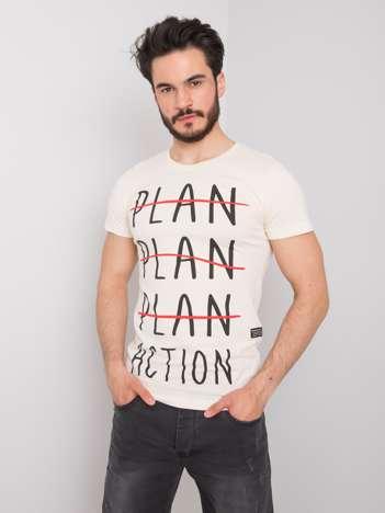 Jasnobeżowy t-shirt męski z motywacyjnym nadrukiem