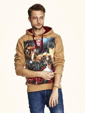 Jasnobrązowa bluza męska z bokserskim nadrukiem