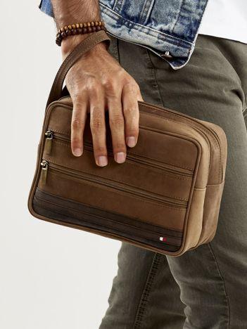 Jasnobrązowa skórzana torba męska do ręki z uchwytem