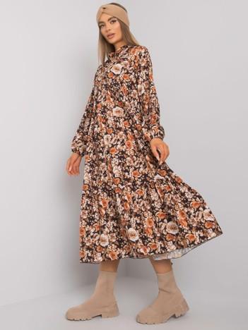 Jasnobrązowa sukienka w kwiaty Skye RUE PARIS