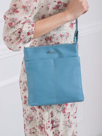 Jasnoniebieska torebka ze skóry ekologicznej