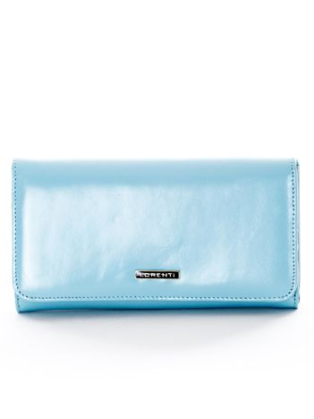Jasnoniebieski portfel damski ze skóry