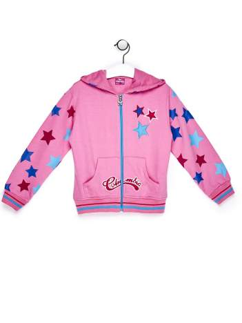 Jasnoróżowa bluza dla dziewczynki w gwiazdki