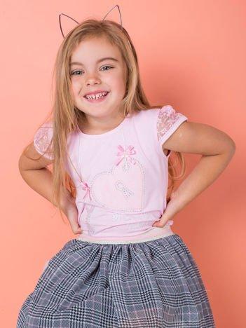Jasnoróżowa bluzka dla dziewczynki z dżetami