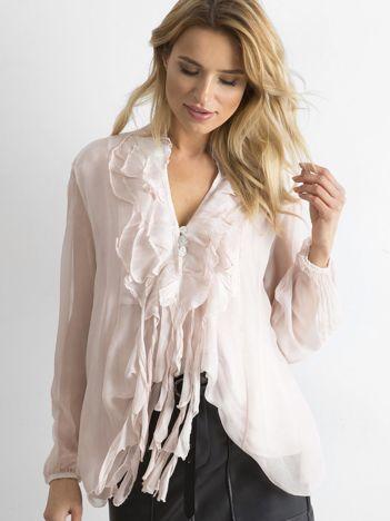 Jasnoróżowa bluzka z żabotem