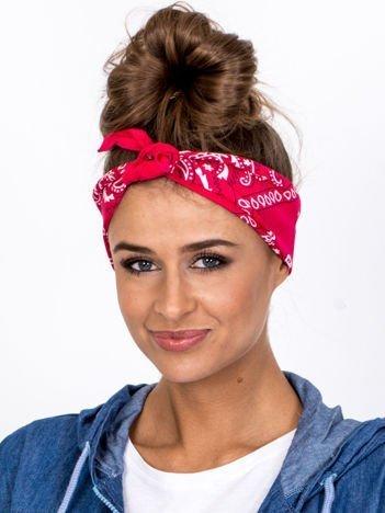 Jasnoróżowa chustka bandanka na głowę ze wzorem paisley