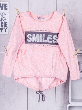 Jasnoróżowa tunika dla dziewczynki z cekinowym napisem