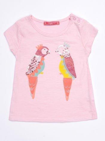 Jasnoróżowy t-shirt niemowlęcy z papużkami