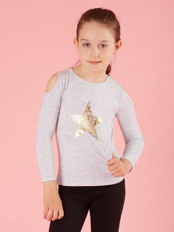 Jasnoszara bluzka dla dziewczynki z dżetami
