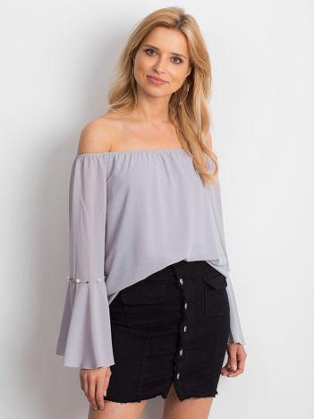 Jasnoszara elegancka bluzka hiszpanka z perełkami