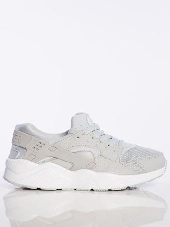 Jasnoszare buty sportowe na spręzystej podeszwie z gumowanymi wstawkami na pięcie