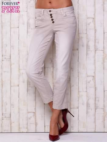 Jasnoszare materiałowe spodnie z przeszyciem