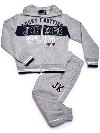 Jasnoszary komplet chłopięcy bluza i spodnie