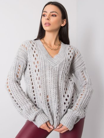 Jasnoszary sweter Hilary