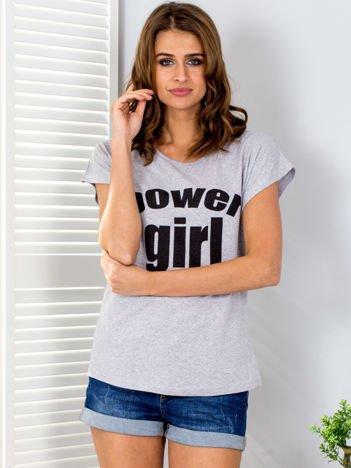 Jasnoszary t-shirt POWER GIRL