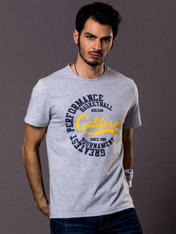 Jasnoszary t-shirt męski California