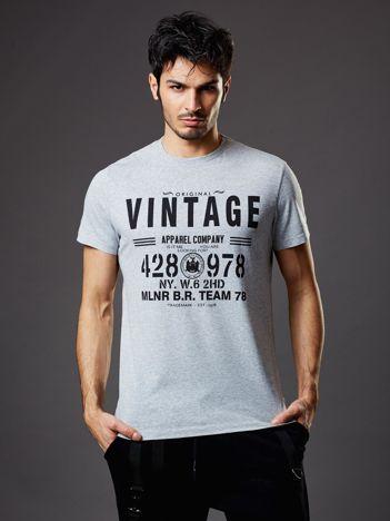 Jasnoszary t-shirt męski Vintage