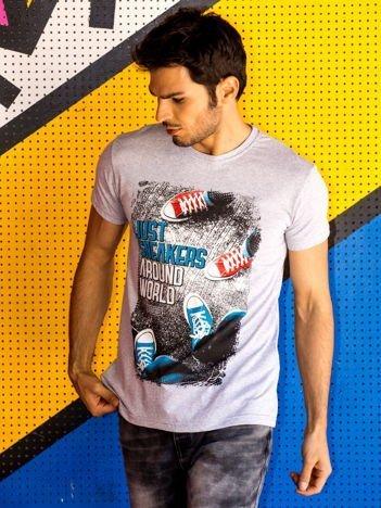 Jasnoszary t-shirt męski z fotograficznym printem